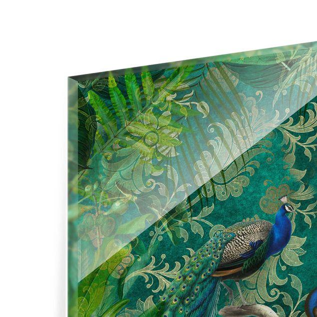 Glas Spritzschutz - Shabby Chic Collage - Edler Pfau II - Quadrat - 1:1