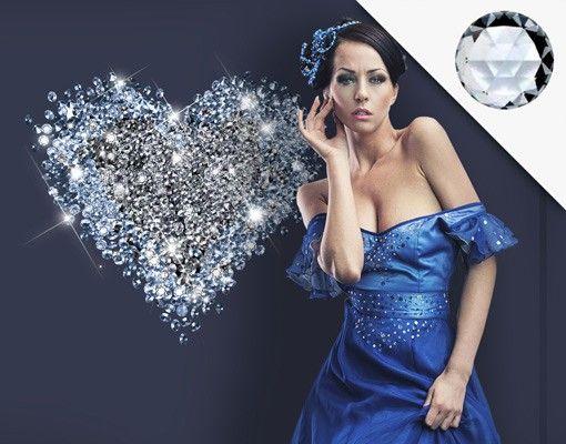 Wandtattoo No.421 Diamant Herz + 15 CRYSTALLIZED™ Swarovski Steine Set