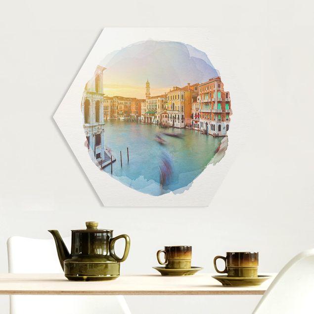 Hexagon Bild Forex - Wasserfarben - Canale Grande Blick von der Rialtobrücke Venedig