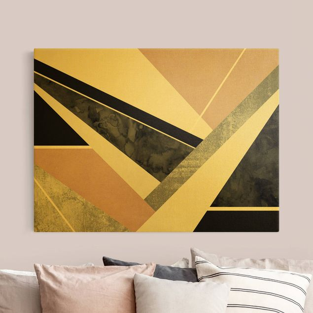 Leinwandbild Gold - Goldene Geometrie - Rosa Schwarz - Querformat 4:3