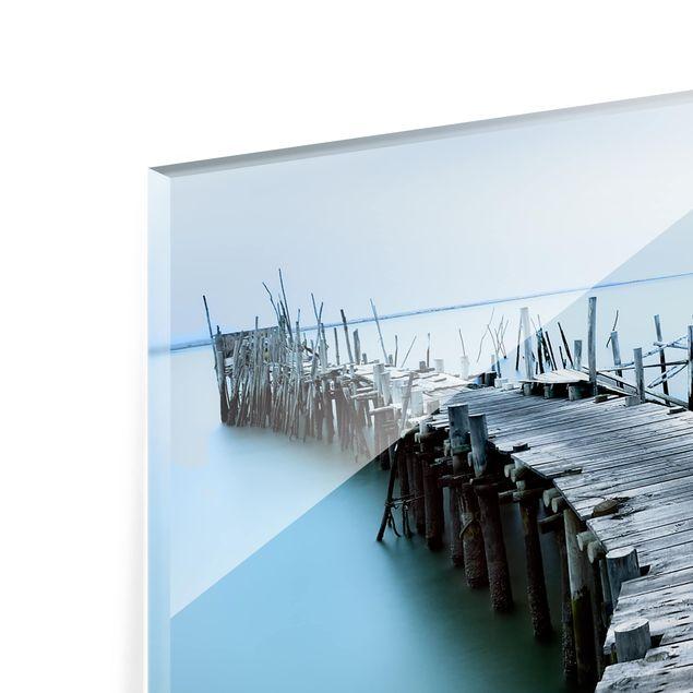 Glas Spritzschutz - Der Hafen von Carrasqueira - Querformat - 4:3