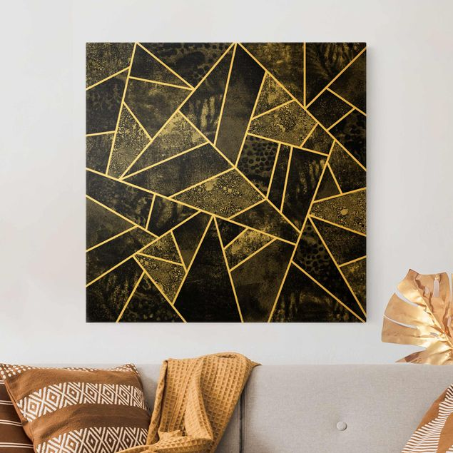 Leinwandbild Gold - Goldene Geometrie - Graue Dreiecke - Quadrat 1:1