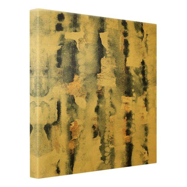 Leinwandbild Gold - Abstraktes Aquarell mit Gold - Quadrat 1:1