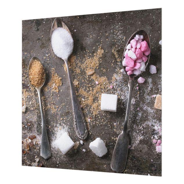 Glas Spritzschutz - Vintage Löffel mit Zucker - Quadrat - 1:1