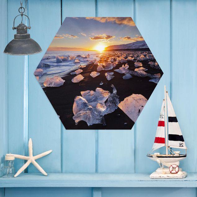 Hexagon Bild Alu-Dibond - Eisbrocken am Strand Island