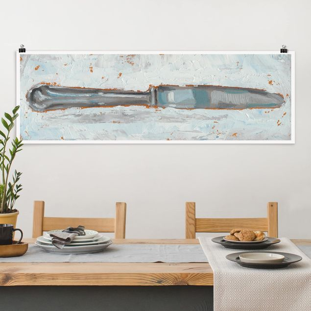 Poster - Impressionistisches Besteck - Messer - Panorama Querformat