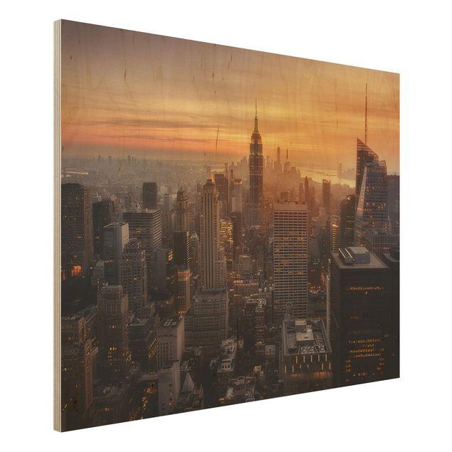 Holzbild - Manhattan Skyline Abendstimmung - Querformat 3:4