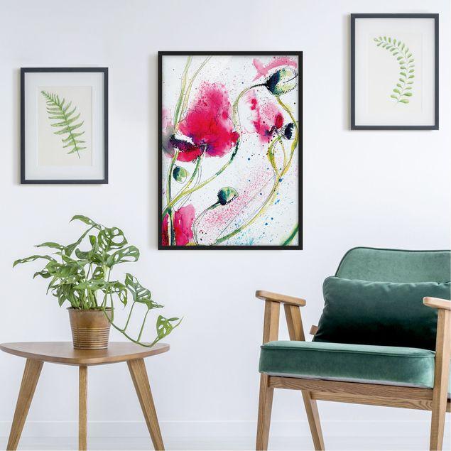 Bild mit Rahmen - Painted Poppies - Hochformat 3:4