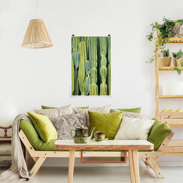 Poster - Kaktus Wand - Hochformat 3:2