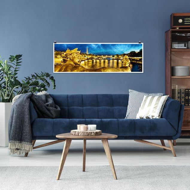 Poster - Goldenes Paris - Panorama Querformat