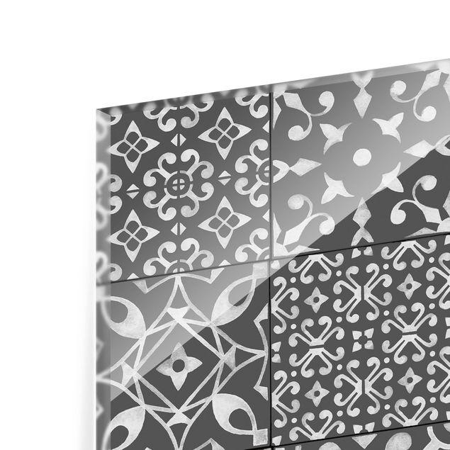 Glas Spritzschutz - Musterfliesen Dunkelgrau Weiß - Quadrat - 1:1
