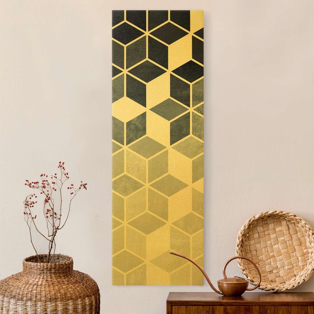 Leinwandbild Gold - Goldene Geometrie - Blau Weiß - Hochformat 1:3