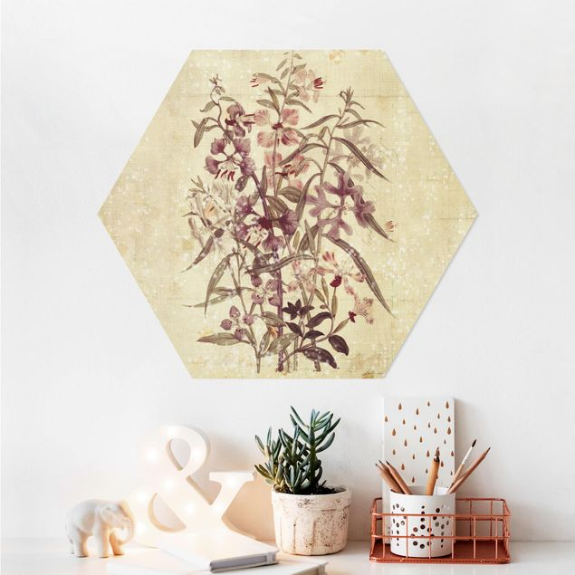 Hexagon Bild Alu-Dibond - Vintage Florale Leinenoptik
