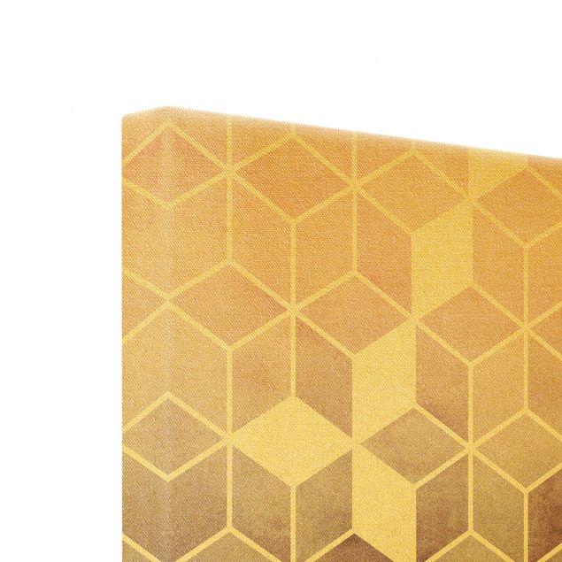 Leinwandbild Gold - Goldene Geometrie - Rosa Grau - Quadrat 1:1