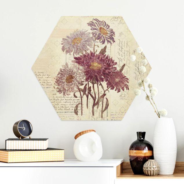 Hexagon Bild Alu-Dibond - Vintage Blumen mit Handschrift