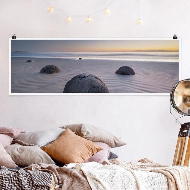 Poster - Moeraki Boulders Neuseeland - Panorama Querformat
