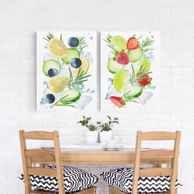 Leinwandbild 2-teilig - Beeren und Zitrusfrucht Eiswürfel Spash - Hoch 3:4