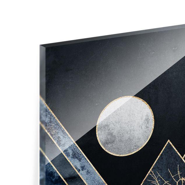 Glas Spritzschutz - Goldener Mond abstrakte schwarze Berge - Quadrat - 1:1