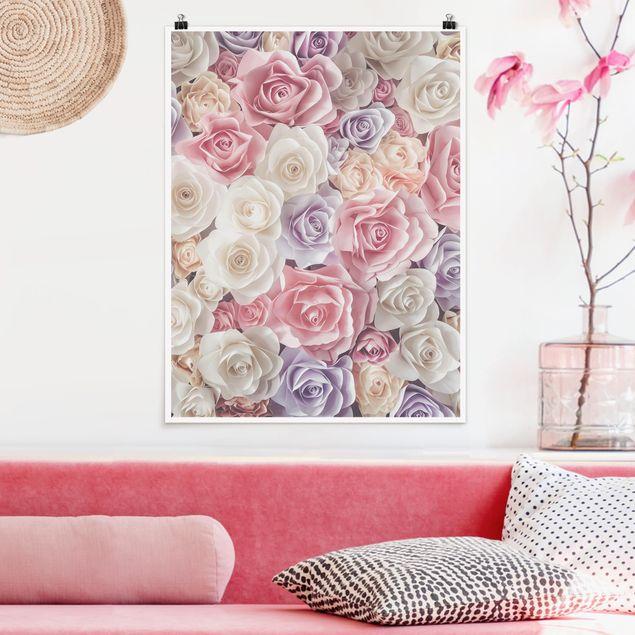 Poster - Pastell Paper Art Rosen - Hochformat 3:4