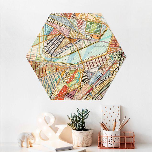 Hexagon Bild Alu-Dibond - Moderne Karte von Boston