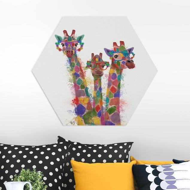 Hexagon Bild Forex - Regenbogen Splash Giraffen-Trio