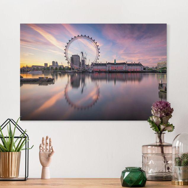 Leinwandbild - London Eye bei Sonnenaufgang - Querformat 3:2