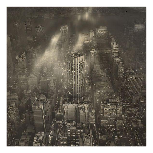Holzbild - Sonnenlicht über New York City - Quadrat 1:1