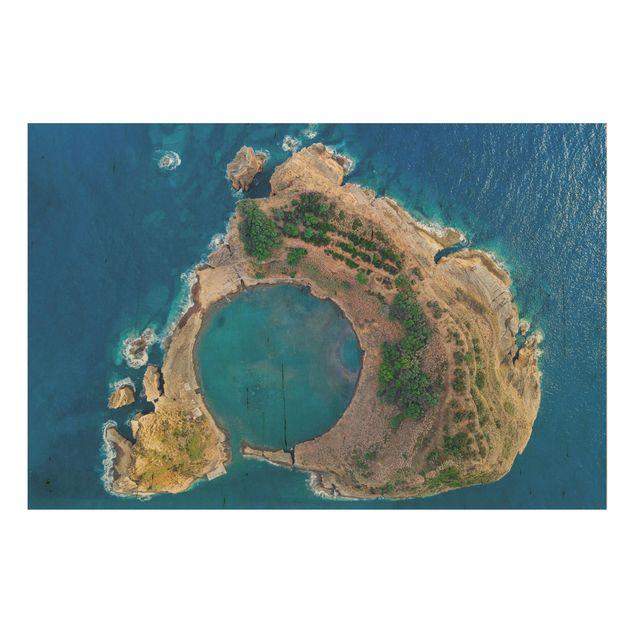 Holzbild - Luftbild - Die Insel Vila Franca do Campo - Querformat 2:3