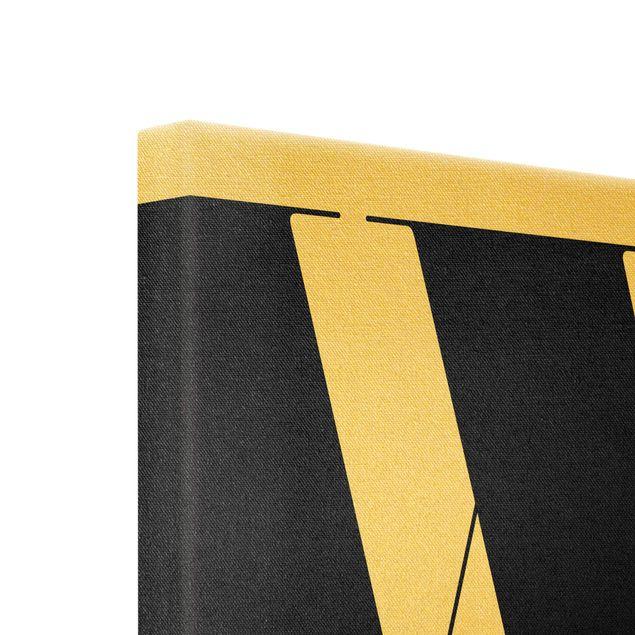 Leinwandbild Gold - Antiqua Letter W - Quadrat 1:1