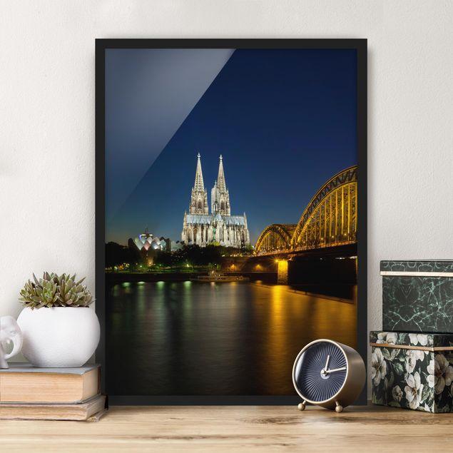Bild mit Rahmen - Köln bei Nacht - Hochformat 3:4