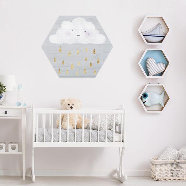 Hexagon Bild Alu-Dibond - Wolke mit goldenen Regentropfen