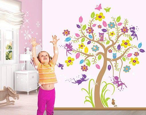 Wandtattoo Babyzimmer Wald - Baum & Vögel Schmetterling Eule No.BP26 Feen Garten