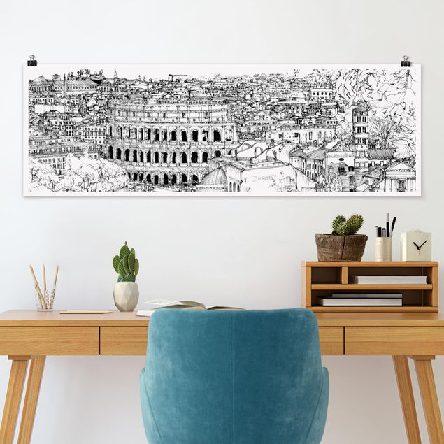 Poster - Stadtstudie - Rom - Panorama Querformat