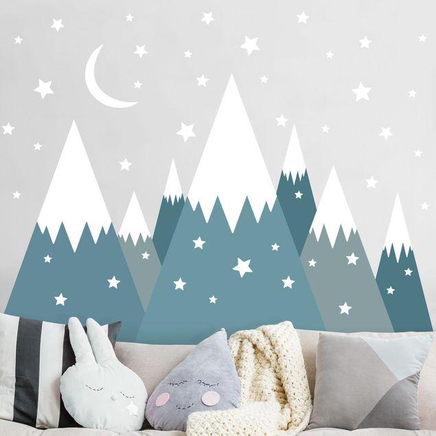 Wandtattoo - Schneebedeckte Berge Sterne und Mond