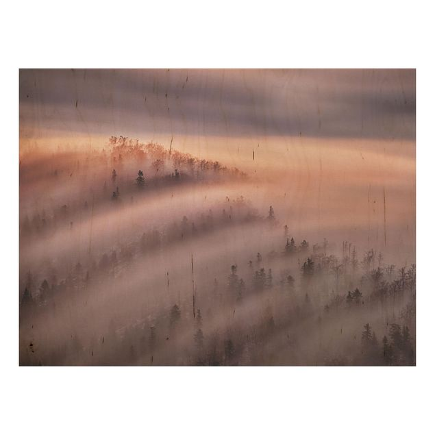 Holzbild - Nebelflut - Querformat 3:4