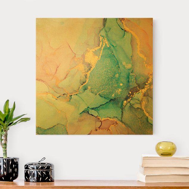 Leinwandbild Gold - Aquarell Pastell Bunt mit Gold - Quadrat 1:1