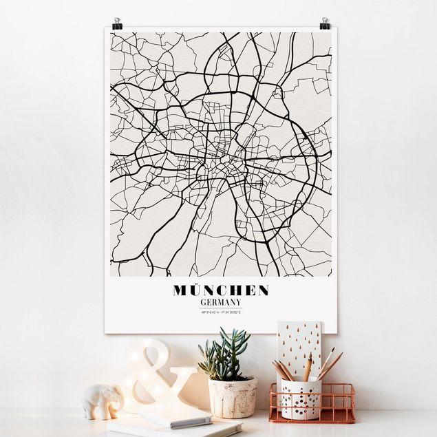 Poster - Stadtplan München - Klassik - Hochformat 3:4