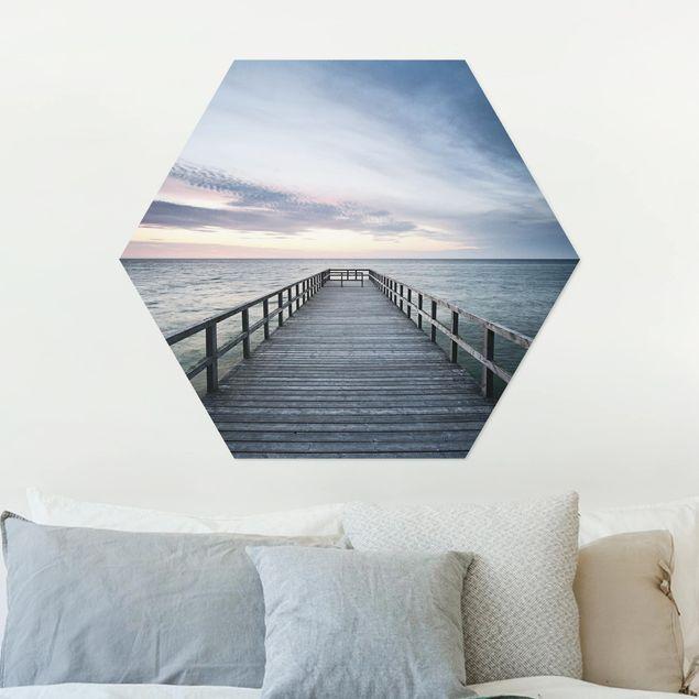 Hexagon Bild Alu-Dibond - Steg Promenade