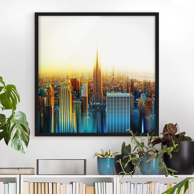 Bild mit Rahmen - Manhattan Abstrakt - Quadrat 1:1