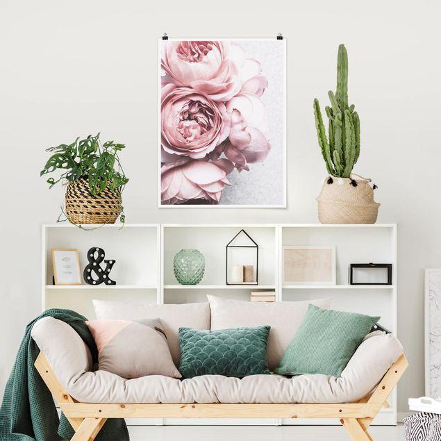 Poster - Rosa Pfingstrosenblüten Shabby Pastell - Hochformat 4:3
