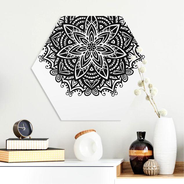 Hexagon Bild Forex - Mandala Blüte mit Herz