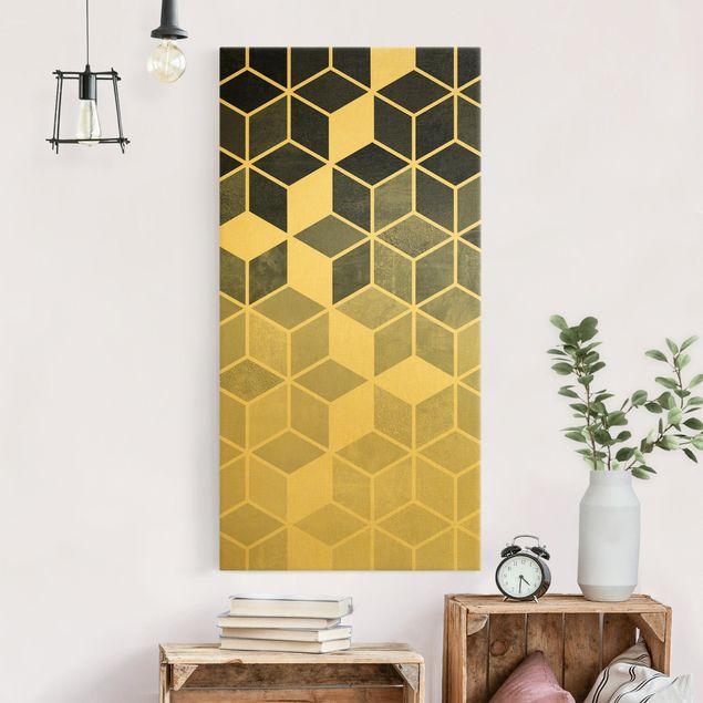 Leinwandbild Gold - Goldene Geometrie - Blau Weiß - Hochformat 1:2