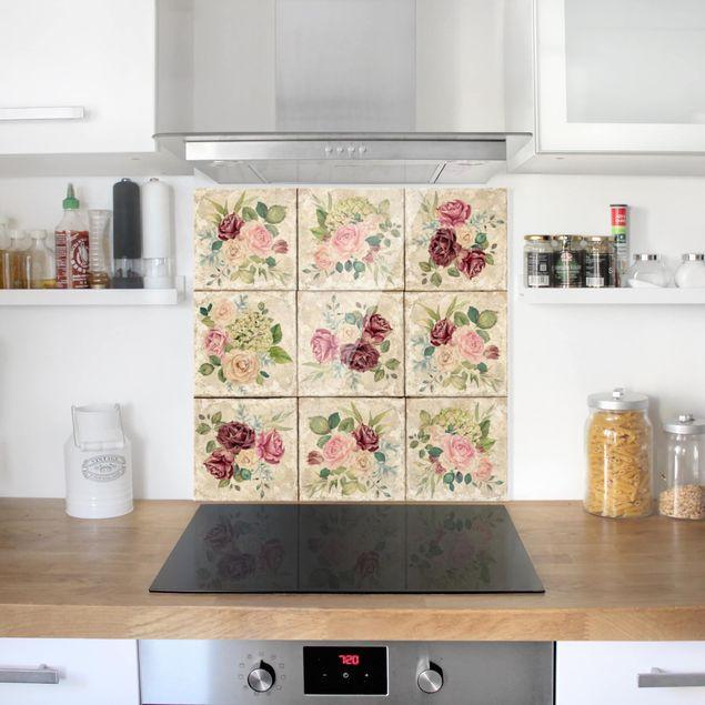 Glas Spritzschutz - Vintage Rosen und Hortensien - Quadrat - 1:1