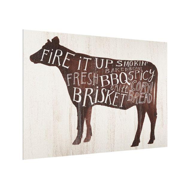 Glas Spritzschutz - Bauernhof BBQ - Kuh - Querformat - 4:3