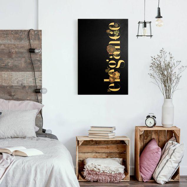 Leinwandbild Gold - Elegance - Blumen Schwarz - Hochformat 2:3