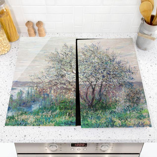 Herdabdeckplatte Glas - Claude Monet - Frühlingsstimmung - 52x80cm