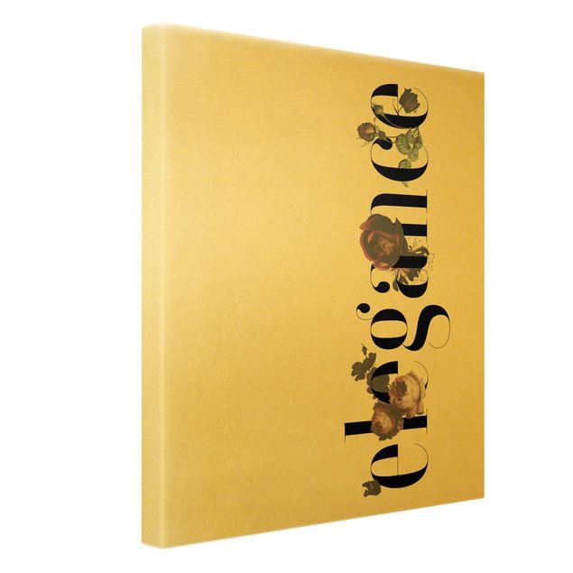 Leinwandbild Gold - Elegance - Blumen - Hochformat 3:4