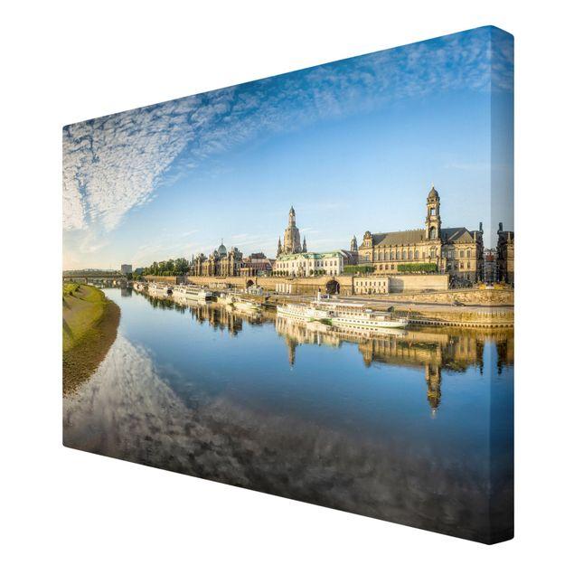 Leinwandbild - Die Weiße Flotte von Dresden - Querformat 3:2