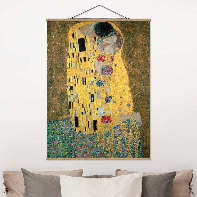 Stoffbild mit Posterleisten - Gustav Klimt - Der Kuß - Hochformat 4:3