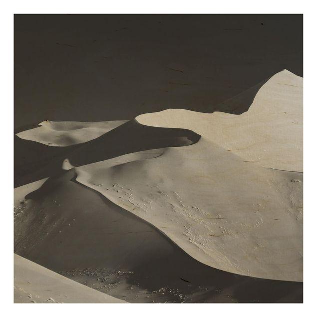 Holzbild - Wüste - Abstrakte Dünen - Quadrat 1:1